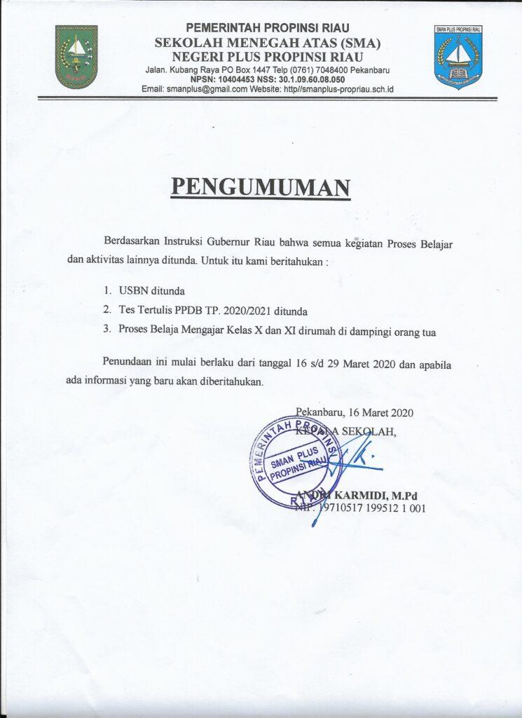 Pemberitahuan Penundaan Tes Tertulis PPDB SMAN Plus Provinsi Riau