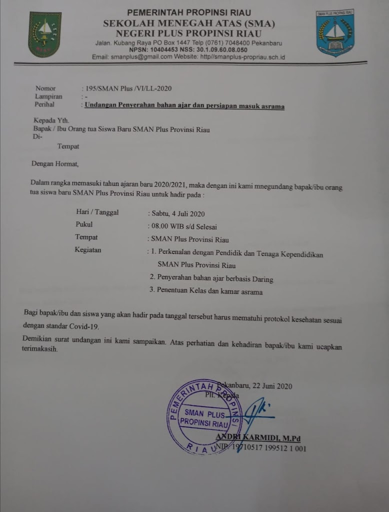 Undangan Penyerahan bahan Ajar dan Pembagian Kamar Asrama untuk siswa baru SMAN Plus Provinsi Riau Tahun Ajaran 2020/2021