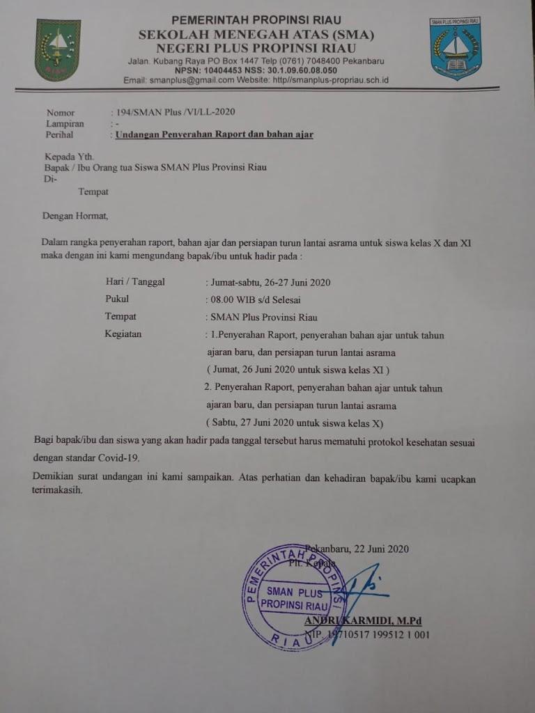 Undangan Penyerahan Rapor dan Persiapan Turun Lantai Asrama SMAN Plus Provinsi Riau