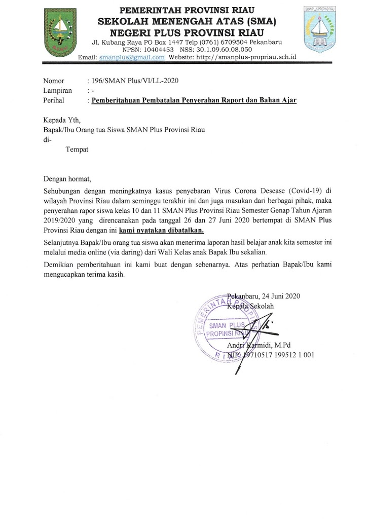 Pemberitahuan Pembatalan Penyerahan Rapor dan Bahan Ajar